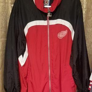 Red Wings starter jacket.